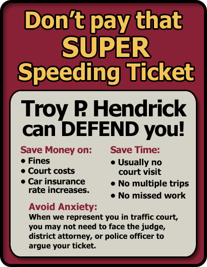 Atlanta, Georgia Super Speeding Ticket Lawyer/Attorney | The Law Offices of Troy P. Hendrick | Serving all of Georgia and the Atlanta Metro Area